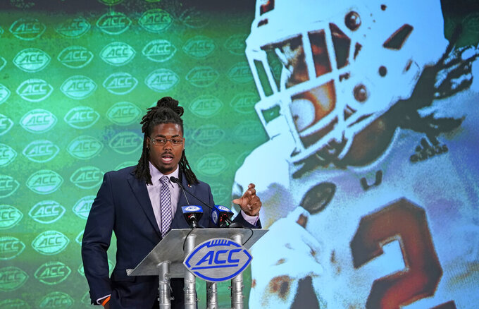 Miami's K.J. Osborn speaks during the Atlantic Coast Conference NCAA college football media days in Charlotte, N.C., Thursday, July 18, 2019. (AP Photo/Chuck Burton)