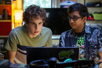 """This mage released by Universal Pictures shows Ben Platt, left, and Nik Dodani in a scene from """"Dear Evan Hansen."""" (Erika Doss/Universal Pictures via AP)"""