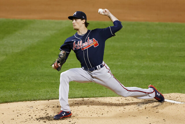 Atlanta Braves pitcher Max Fried delivers during the first inning of a baseball game against the New York Mets, Friday, Sept. 18, 2020, in New York. (AP Photo/Adam Hunger)