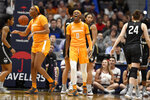 Tennessee's Rennia Davis (0) reacts after a basket in the first half of an NCAA college basketball game against Connecticut, Thursday, Jan. 23, 2020, in Hartford, Conn. (AP Photo/Jessica Hill)