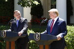 President Donald Trump and Polish President Andrzej Duda attend a news conference in the Rose Garden of the White House, Wednesday, June 12, 2019, in Washington. (AP Photo/Alex Brandon)
