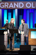 Actor William Shatner, left, and Jeff Cook, of the band Alabama perform the title track from their country album