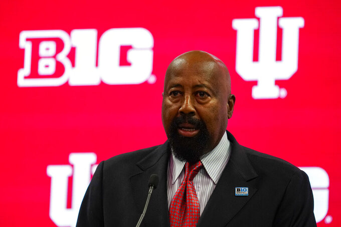 Indiana men's head coach Mike Woodson speaks during the Big Ten NCAA college basketball media days in Indianapolis, Friday, Oct. 8, 2021. (AP Photo/Michael Conroy)