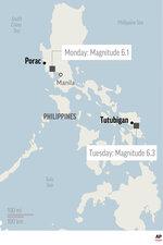 Map locates quakes in Porac and Tutubigan, Philippines; 1c x 2 1/2 inches; 46.5 mm x 63 mm;