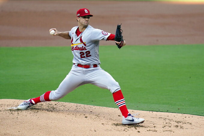 St. Louis Cardinals starting pitcher Jack Flaherty works against a San Diego Padres batter during the first inning of Game 3 of a National League wild-card baseball series Friday, Oct. 2, 2020, in San Diego. (AP Photo/Gregory Bull)