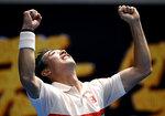 ARCHIVO - En imagen de archivo del jueves 17 de enero de 2019, el japonés Kei Nishikori festeja su victoria sobre el croata Ivo Karlovic en un duelo de la segunda ronda del Abierto de Australia, en Melbourne. (AP Foto/Andy Brownbill, archivo)