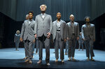 """This image released by HBO shows David Byrne, foreground, in a scene from """"David Byrne's American Utopia."""" The American Theatre Wing and the Broadway League announced Tuesday that """"David Byrne's American Utopia"""" will receive a Special Tony Award, (HBO via AP)"""