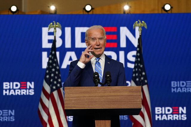 Democratic presidential candidate former Vice President Joe Biden speaks, Wednesday, Nov. 4, 2020, in Wilmington, Del. (AP Photo/Carolyn Kaster)