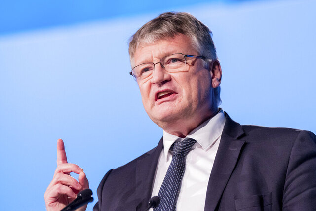 Joerg Meuthen, federal spokesman, speaks at the Federal Party Conference of the AfD in Kalkar, Germany, Sunday, Nov.29, 2020. (Rolf Vennenbernd/dpa via AP)