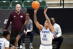 Memphis guard Lester Quinones (11) takes a shot in the first half of an NCAA college basketball championship game against Mississippi State in the NIT, Sunday, March 28, 2021, in Frisco, Texas. (AP Photo/Tony Gutierrez)