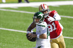 San Francisco 49ers defensive end Arik Armstead (91) sacks New York Jets quarterback Sam Darnold (14) during the first half of an NFL football game Sunday, Sept. 20, 2020, in East Rutherford, N.J. (AP Photo/Bill Kostroun)