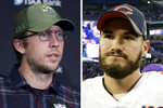FILE - From left are 2019 file photos showing then-Jacksonville Jaguars quarterback Nick Foles speaking in Indianapolis and Chicago Bears quarterback Mitchell Trubisky speaking n Minneapolis. Trubisky understands why the Bears acquired quarterback Nick Foles. That doesn't mean he's ready to hand over the starting job. Trubisky said the trade for Foles gave him extra motivation to show he can develop into the franchise quarterback the Bears thought he would become when they moved up a spot to draft him with the No. 2 overall pick in 2017.(AP Photo/File)