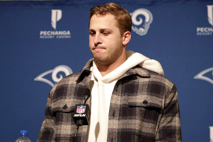 Los Angeles Rams quarterback Jared Goff speaks at a news conference after the Rams lost to the San Francisco 49ers in an NFL football game in Santa Clara, Calif., Saturday, Dec. 21, 2019. (AP Photo/John Hefti)