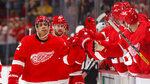 Detroit Red Wings left wing Andreas Athanasiou (72) celebrates scoring against the Boston Bruins in the third period of an NHL hockey game Sunday, Feb. 9, 2020, in Detroit. (AP Photo/Paul Sancya)