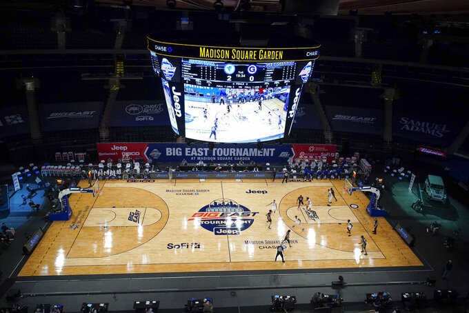 Seton Hall plays Georgetown during the first half of an NCAA college basketball game in the semifinals of the Big East men's tournament Friday, March 12, 2021, in New York. (AP Photo/Frank Franklin II)