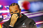 Mercedes driver Lewis Hamilton of Britain attends a media conference prior to the Belgian Formula One Grand Prix at the Spa-Francorchamps racetrack in Spa, Belgium, Thursday, Aug. 26, 2021. (Xpb Images.com, Pool via AP)