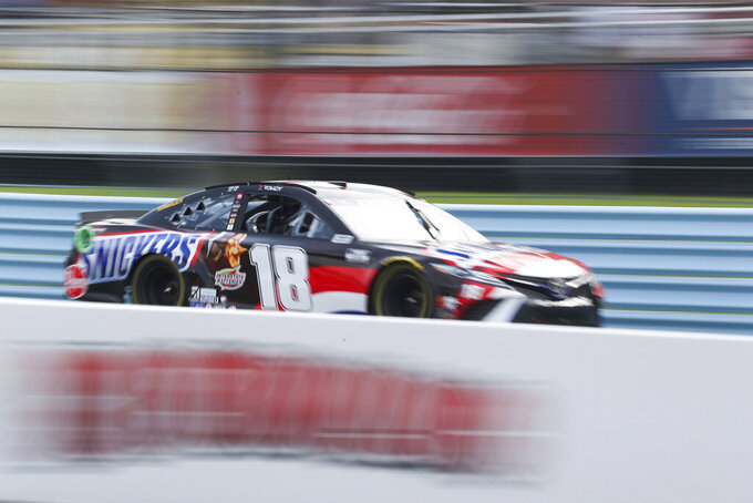 Kyle Busch during a NASCAR Cup Series auto race in Watkins Glen, N.Y., on Sunday, Aug. 8, 2021. (AP Photo/Joshua Bessex)