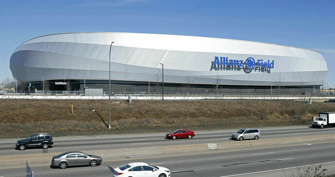 In this March 26, 2019, photo, the new stadium of the Minnesota United FC Loons is shown in St. Paul, Minn. The MLS soccer team's home opener and debut of the privately-funded Allianz Field is April 13 against New York City FC in St. Paul, Minn. (AP Photo/Jim Mone)