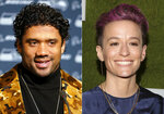 This combination photo shows Seattle Seahawks quarterback Russell Wilson in Santa Clara, Calif., on Nov. 11, 2019, left, and U.S. Women's soccer player Megan Rapinoe at the Sports Illustrated Sportsperson of the Year Awards in New York on Dec. 9, 2019. Wilson and Rapino will host will host The ESPY Awards airing Sunday on ESPN. (AP Photo)