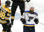 St. Louis Blues' Ryan O'Reilly, right, celebrates his goal against the Boston Bruins during the second period in Game 5 of the NHL hockey Stanley Cup Final, Thursday, June 6, 2019, in Boston. (AP Photo/Charles Krupa)
