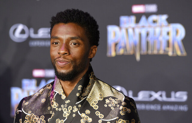 FILE - In this Jan. 29, 2018 file photo, Chadwick Boseman, a cast member in