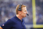 FILE - In this Sept. 30, 2018, file photo, Dallas Cowboys head coach Jason Garrett watches from the sideline during the first half of the team's NFL football game against the Detroit Lions in Arlington, Texas. Garrett enters the final year of his contract and has two playoff wins in nine seasons. He has to win now or owner Jerry Jones will have to make a tough decision. (AP Photo/Ron Jenkins, File)