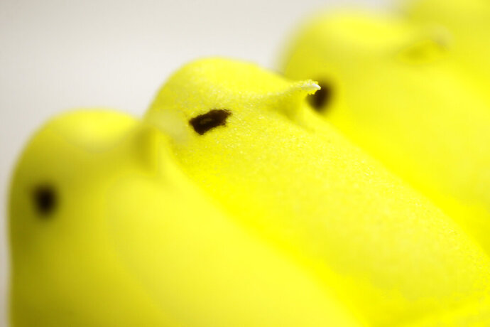 FILE - This Feb. 13, 2013 file photo shows Peeps at the Just Born factory in Bethlehem, Pa.  Peeps holiday treats are going on hiatus — another consequence of the coronavirus. PennLive.com reports, Saturday, Sept. 12, 2020,  that Just Born Quality Confections says it won't be producing the popular sweets for Halloween, Christmas or Valentine's Day as the Bethlehem, Pennsylvania-based company prepares for next Easter.  (AP Photo/Matt Rourke, File)