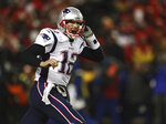 New England Patriots quarterback Tom Brady (12) celebrates after defeating the Kansas City Chiefs in the AFC Championship NFL football game, Sunday, Jan. 20, 2019, in Kansas City, Mo. (AP Photo/Jeff Roberson)