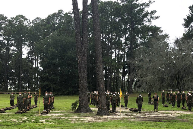 FILE - In this May 27, 2020 file photo, Marine recruits line up at Parris Island Recruit Depot, S.C. A study published on Wednesday, Nov. 11, 2020 found that despite temperature and COVID-19 symptom checks and strict quarantines before they were allowed to start training, new Marine recruits spread the virus to others even though hardly any of them had symptoms. None of the infections that occurred were caught through symptom screening. (AP Photo/Lolita Baldor)