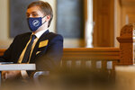 Rep. Aaron Coleman, D-Kansas City, waits to speak during a special hearing his possible removal from office Friday, Jan. 22, 2021, at the Kansas Statehouse in Topeka, Kan. (Evert Nelson/The Topeka Capital-Journal via AP)