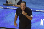 Notre Dame head coach Mike Brey yells to his team during the second half of an NCAA college basketball game against Kentucky in Lexington, Ky., Saturday, Dec. 12, 2020. Notre Dame won 64-63. (AP Photo/James Crisp)