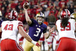 Washington quarterback Jake Browning (3) throws a pass against Utah during the first half of the Pac-12 Conference championship NCAA college football game in Santa Clara, Calif., Friday, Nov. 30, 2018. (AP Photo/Tony Avelar)