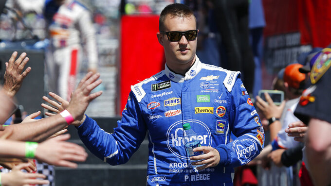 Monster Energy NASCAR Cup Series driver Ryan Preece (47) greets fans during driver introductions prior to the NASCAR Cup Series auto race at the Martinsville Speedway in Martinsville, Va., Sunday, March 24, 2019. (AP Photo/Steve Helber)