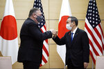 Japan's Prime Minister Yoshihide Suga, right, and U.S. Secretary of State Mike Pompeo, left, greet prior to their meeting at the prime minister's office Tuesday, Oct. 6, 2020, in Tokyo, ahead of the four Indo-Pacific nations' foreign ministers meeting. (AP Photo/Eugene Hoshiko, Pool)