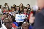 Fans listen as Tom Hanks speaks on NBC's