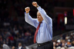 Houston's Kelvin Sampson reacts in the second half of an NCAA college basketball game against Connecticut, Thursday, March 5, 2020, in Storrs, Conn. (AP Photo/Jessica Hill)