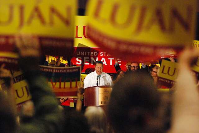 Senate candidate U.S. Rep. Ben Ray Luján of Nambé, N.M., seeks support from local party delegates at the Democratic Party preprimary convention in Pojoaque, N.M., Saturday, March 7, 2020. Candidates for open congressional and Senate seats underwent the first test of their political might as the Democratic and Republican parties of New Mexico held statewide conventions. The conventions decide the ballot order for candidates in the state's primary election on June 2. (AP Photo/Morgan Lee)