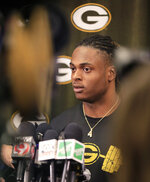 Green Bay Packers wide receiver Davante Adams speaks to reporters at Lambeau Field on Wednesday, April 10, 2019, in Green Bay, Wis. (Adam Wesley/The Post-Crescent via AP)