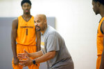 In this Oct. 12, 2016, photo, Tennessee NCAA college basketball associate head coach Rob Lanier walks players through a drill during practice in Knoxville, Tenn. Georgia State has hired Tennessee assistant Rob Lanier to replace Ron Hunter as coach. Lanier was associate head coach for the Vols the last four seasons following four years with the same title on coach Rick Barnes' staff at Texas. (Caitie McMekin/Knoxville News Sentinel via AP)
