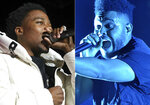 Roddy Ricch performs at the 7th annual BET Experience in Los Angeles on June 21, 2019, left, and The Weeknd performs at Lollapalooza in Chicago on Aug 4, 2018. Rich and The Weeknd were each nominated for eight American Music Awards on Monday. They will compete against each other for Favorite Song - Pop/Rock and Artist of the Year at the awards show airing Nov. 22 on ABC. (AP Photo)