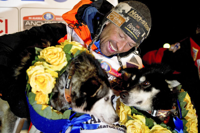 FILE - In this March 18, 2020 file photo, Thomas Waerner, of Norway, celebrates his win in the Iditarod Trail Sled Dog Race in Nome, Alaska. The world's most famous sled dog race will go forward in 2021 officials are preparing for every potential contingency now for what the coronavirus and the world might look like in March when the Iditarod starts. It's not the mushers that worry Iditarod CEO Rob Urbach; they're used to social distancing along the 1,000 mile trail. The headaches start with what to do with hundreds of volunteers needed to run the race, some scattered in villages along the trail between Anchorage and Nome, to protect them and the village populations. (Marc Lester/Anchorage Daily News via AP, File)