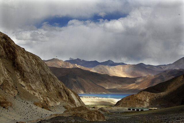 FILE-In this Sept. 14, 2017, file photo, Pangong Tso lake is seen near the India China border in India's Ladakh area. India said Monday its soldiers thwarted China's