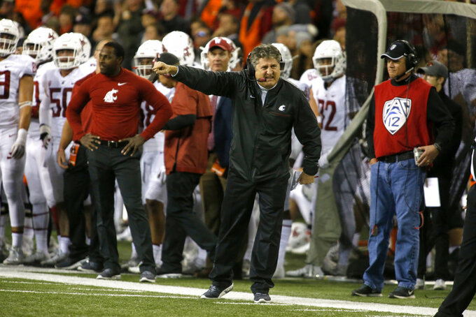 Washington State head coach Mike Leach during an NCAA college football in Corvallis, Ore., on Saturday Oct. 6, 2018. (AP Photo/Timothy J. Gonzalez)