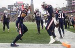 New England Patriots linebacker Dont'a Hightower, right, celebrates his touchdown with Kyle Van Noy, left, after recovering a fumble in the first half of an NFL football game against the Cleveland Browns, Sunday, Oct. 27, 2019, in Foxborough, Mass. (AP Photo/Elise Amendola)