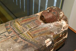 Upper portion of the Cohen mummy at the new Johns Hopkins Archaeological Museum exhibit,