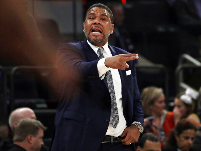 Providence head coach Ed Cooley calls out to his team during the first half of an NCAA college basketball game against Villanova at the Big East Conference tournament, Thursday, March 14, 2019, in New York. (AP Photo/Frank Franklin II)