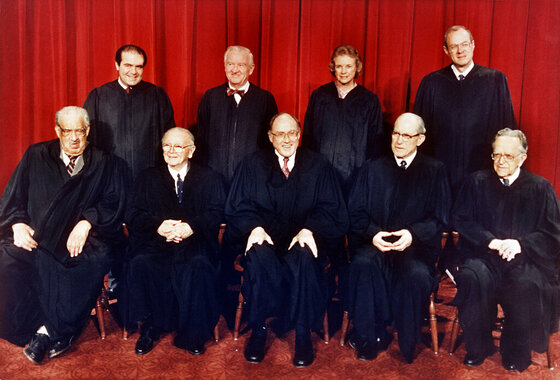 Thurgood Marshall, William Brennan, Jr., William Rehnquist, Byron White, Harry Blackmun, Antonin Scalia, John Paul Stevens, Sandra Day O'Connor, Anthony M. Kennedy