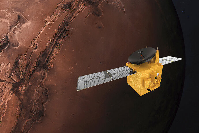 This June 1, 2020, rendering provided by Mohammed Bin Rashid Space Centre shows the Hope probe. The U.S., China and the United Arab Emirates are sending spacecraft to Mars in quick succession beginning this week.(MBRSC via AP)