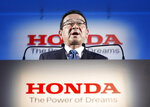 Honda's President and CEO Takahiro Hachigo speaks during a press conference in Tokyo Tuesday, Feb. 19, 2019. Honda Motor Co. plans to close its car factory in western England in 2021, the company said Tuesday, in a fresh blow to the British economy as it faces its March 29 exit from the European Union. (Yuya Shino/Kyodo News via AP)