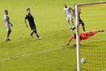 The ball gets past Inter Miami goalkeeper Luis Robles, right, on a goal scored by New York Red Bulls midfielder Daniel Royer, 77, during the second half of an MLS soccer match, Wednesday, Sept. 23, 2020, in Fort Lauderdale, Fla.  (AP Photo/Lynne Sladky)